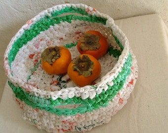 Recycled plastic bag green and white crochet basket with 2 handles, fruit basket , plarn basket