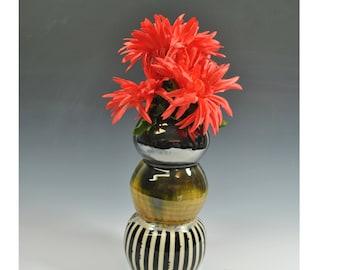 Wheel Thrown Pottery Vase, Flower Vase, Black and White Stripe Vase