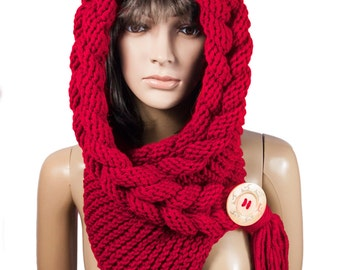Hooded Scarf, Scarf, Hood, scarf hooded, Chunky scarf, Wool cowl | 156