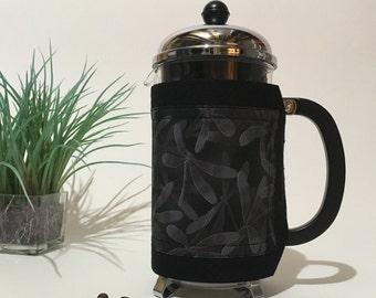 """French Press Coffee Cozy- """"Dragonfly"""" Black, Bodum Cozy, Cafetiere Cozy, Coffee Pot Cozy, Merino Wool Felt Coffee Press Cozy"""