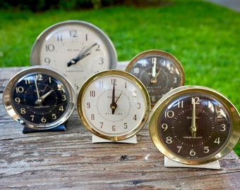 Lot Of Vintage Mid Century Clocks By Westclox / Big Ben / Baby Ben / Set Of 5 Clocks / 60s Clocks / 50s Clocks / Retro Clocks / Collection