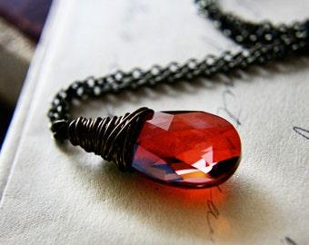 ChristmasinJuly CIJ Sale Firebird Necklace, Firey Red Swarovski Crystal Copper