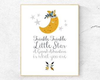ART PRINT . Twinkle Twinkle Little Star . A Grand Adventure Is What You Are . Nursery Print . Baby Shower Print