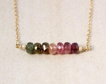 Dark Watermelon Pink Green Tourmaline Necklace - Bar Necklace - Choose Your Pendant