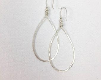 Sterling Silver Pear Shaped Hoop Earrings #631