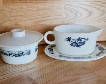 Vintage Pyrex Olde Town Blue Gravy Boat with Saucer and Margarine Bowl with Lid