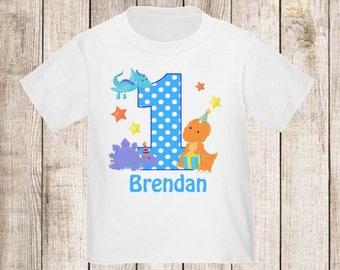 1st Birthday Dinosaur Personalized First Birthday Shirt - ANY Age