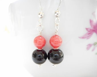Coral and Black Earrings, Black Onyx and Coral Mountain Jade Stone Beaded Earrings, Sterling Silver Gemstone Jewelry, Small Dangle Earrings
