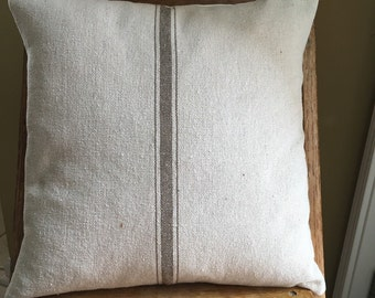 Grain Sack / Ticking Pillow Cover Tan Stripe Grain Sack Pillow Grain Sack Ticking Pillow Stripe Grain Sack Pillows