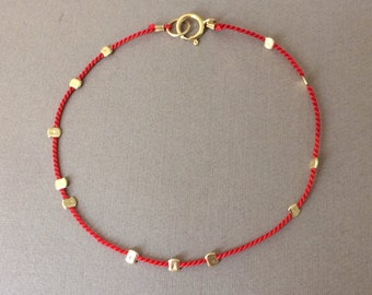 Gold Bead RED Silk String Bracelet also in Sterling Silver and Rose Gold Fill