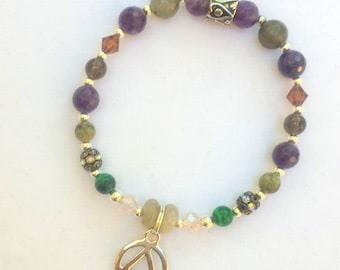 Recovery and addiction bracelet with sobriety AA charm