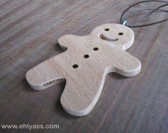Hanging gingerbread man Christmas tree - Gingerbread man made fretwork beech wood