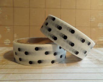 Masking tape white with black polka dots