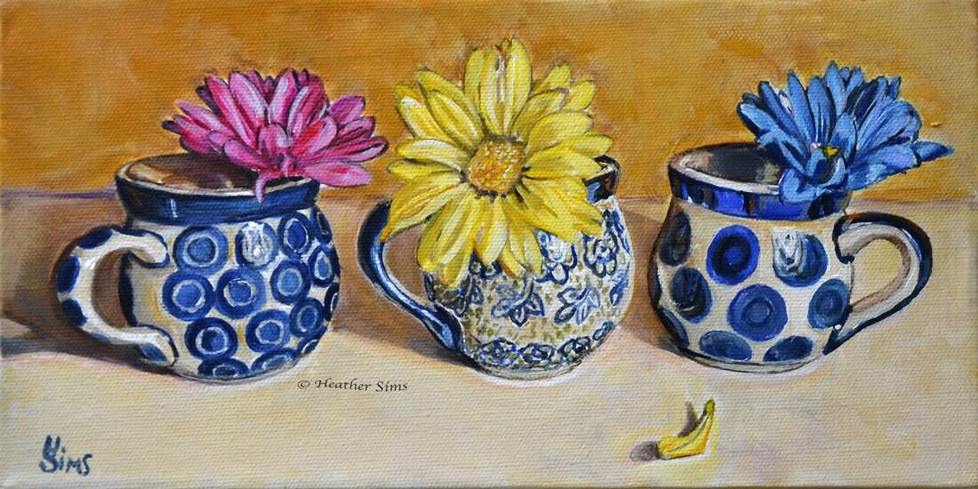 Polish pottery kitchen art print pottery mug floral still