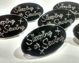 Sale!!! Enamel lapel pin,  Sleeping or Sewing, Sewing pin