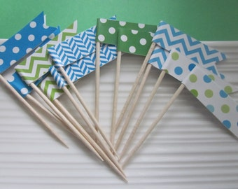 Blue and Green Cupcake Toppers / Food Picks / Party Picks / set of 24