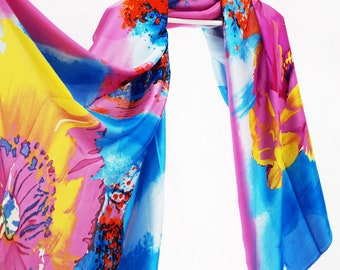 Infinity scarf pattern, Digital print sarong, Printed art scarf, Floral scarves for women, Oversized scarf, Blanket scarf, Accessories
