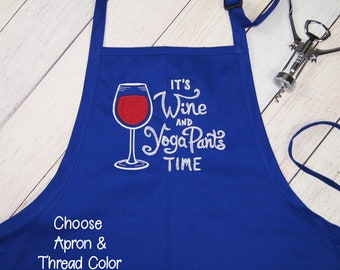Wine Lovers Gift, Women's Embroidered Apron, Kitchen Baking Apron Wine Aprons, Kitchen Apron, Funny Apron, Housewarming Gift, Black Apron