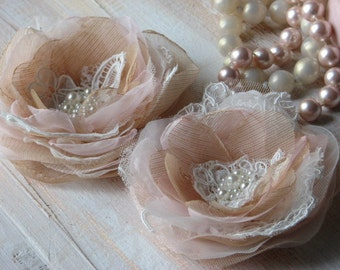 Blush hair flowers Ivory lace Champagne flowers  Blush ivory flower Ivory champagne flower Champagne wedding flower Champagne bridal flower