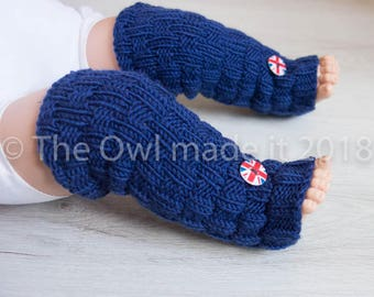 Union Jack Baby Leg Warmers| Merino wool leg warmers| Navy blue leg warmers| Baby boy leg warmers| UK seller