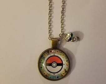 Handmade Poke Ball compass Necklace with Pendant