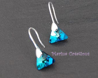 Earrings Silver 925, Crystal Swarovski Elements blue BOAR004