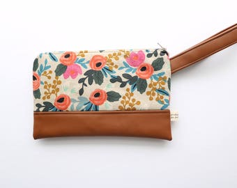 Rifle Paper Co. Les Fleurs Wristlet (Brown) (Beige)
