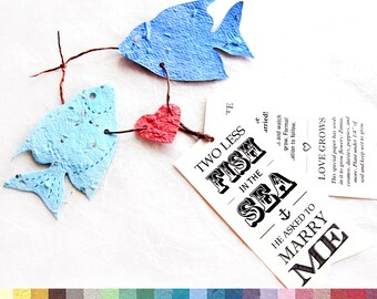 35 Plantable Two Less Fish in the Sea - Save the Date Cards - Plantable Seed Paper Wedding Invitation - DIY Fish Wedding Favors