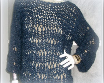 SWEATER WOMENS KNITTED Pullover Bulky Chunky Loose Blue