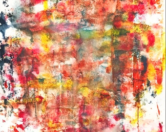 Abstract Painting on Mixed Media Paper, 14x17