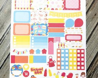 Summer BBQ Sampler Sheet - Weekly Planner Sheet - Summer Planner Stickers