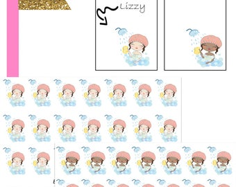 Lizzy Bath Time//Planner Character Stickers//EC//HP