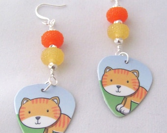 Striped Cat Earrings Gift Card Earrings Plastic Guitar Pick Earrings Orange Earrings Yellow Earrings Upcycled Gift Ideas for Girlfriends