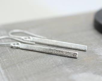 Sterling Silver Matte Bar Dangle Hoop Earrings