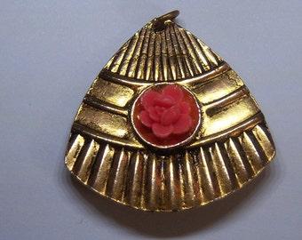 40s  Pendant Brooch. Fan Brooch. Fan Pendant. Dual Use Jewelry. Pin Pendant.