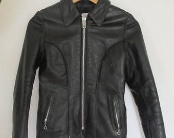 Insane Vintage Authentic Women's Motorcycle Jacket, USA / Black Leather Motorcycle Jacket / Black Leather Jacket / Petite Leather Jacket
