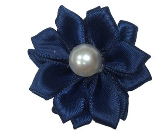 1.5 inch Satin Pearl Flower, Wholesale Crafting Flowers for Baby Girl Head Bands, Lot of 1, 2, 5 or 10, Navy Blue