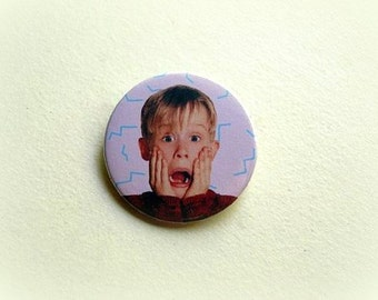 Home alone - pinback button or magnet 1.5 Inch