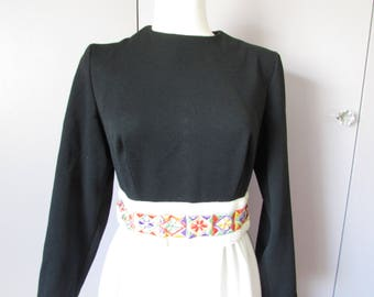 1970 White and Black Maxi Dress