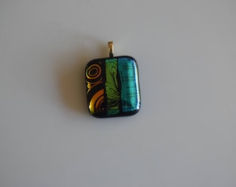 Vibrant Fused Dichroic Glass Pendant In Shades Of Blue, Green, and Red Includes Gold Mesh Chain
