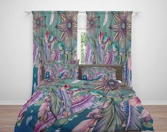 Boho Dreamcatcher Comforter or  Duvet Cover, Twin  Full Queen King, Teal Rainbow, Birds , Window Curtains