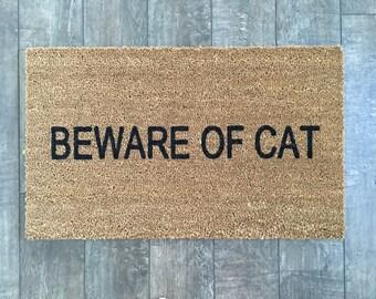 Beware Of Cat doormat / Funny DoorMat / Newlywed Doormat / Housewarming Doormat / Rude Door Mat / Cat Doormat / Cat lover gift / Welcome Mat