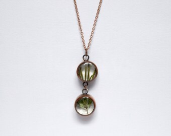 Herb Drop Necklace - real plant copper and resin pendant