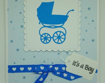 Handmade Card New Baby Boy Blue Pram Hearts Ribbon