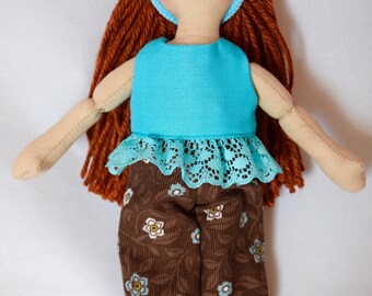 Doll With Red Hair - Kids Toy - Handmade
