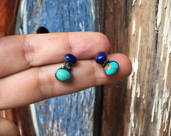 Vintage Sterling Silver Turquoise and Lapis Lazuli Small Post Earrings, Turquoise Jewelry