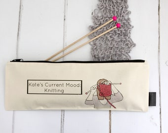 Knitting Illustration Bag | Personalised Knitting Project Bag | Current Mood Knitting | Knitting Storage Accessories