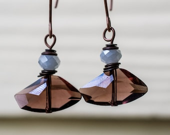 Plum Crystals and Copper Accents, Dangle Earrings by Daliena, Limited Edition, Gemstone jewelry, Hypo-allergenic, Boho, Plum and Gray