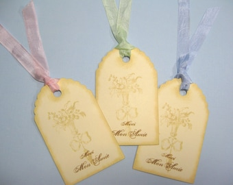 10 Wedding Tags for Favors - French Market Cream Beige Tags - Favor Tags - Thank You Tags - Shower Tags - Marie Antoinette Tags