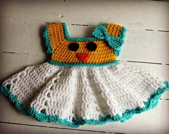 Baby Easter Dress, Easter Dress, Easter Chick, Crochet Easter Dress, Crochet Spring Dress, Spring Dress, Baby Dress, Easter Outfit